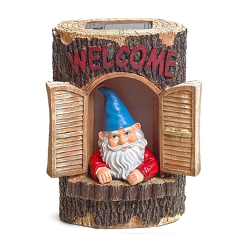 "Gnome ""Welcome"" Garden House Outdoor Decor Stump with Solar Lights"