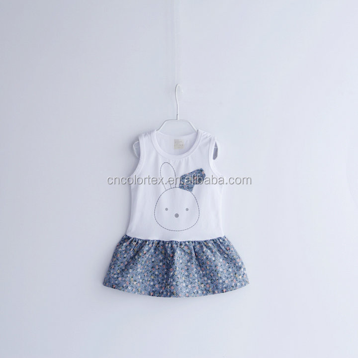 Baby girls summer sleeveless lovely rabbit printing dress