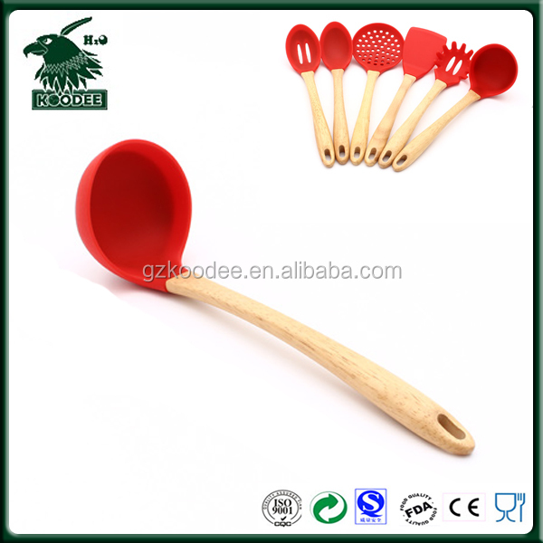 Kitchen gadget cooking ware long handle round soup spoon silicon