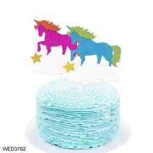 FengRise Wedding Theme Party Decorations Cloud Star Glitter Unicorn Cake Toppers
