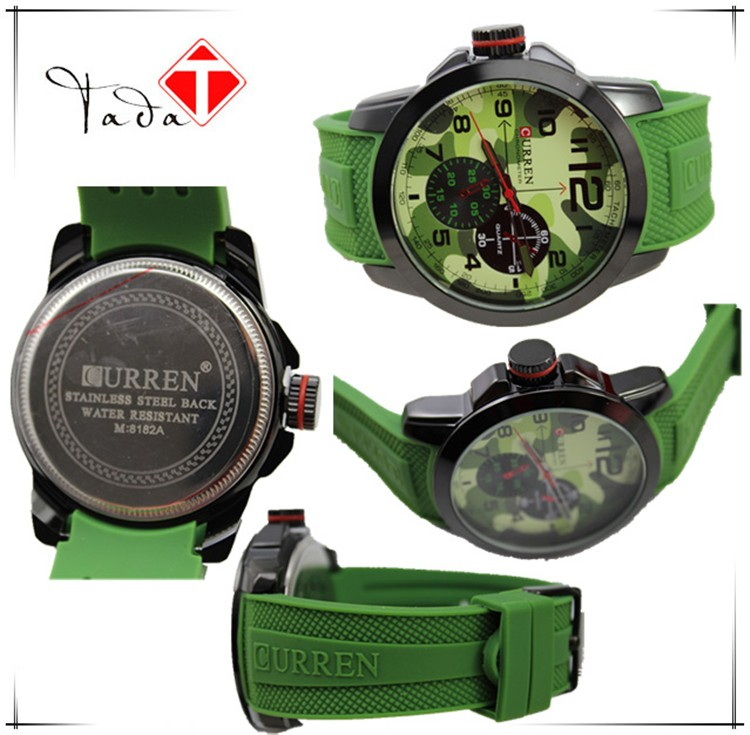 Brand curren 8182 military camo 9 colors silicone watch strap women men fashion japanese movement sports quartz analog watch hot