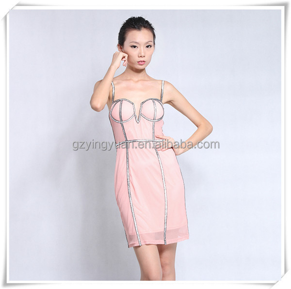 wholesale woman fashion pink bare breast sexy ladies mini cotton dress
