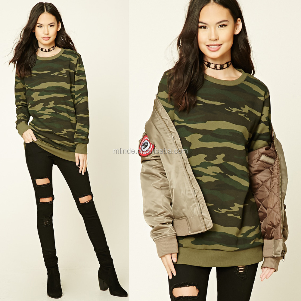 New Fashion Women Clothing Wholesale Camo Printed Sweatshirt without Hoodies