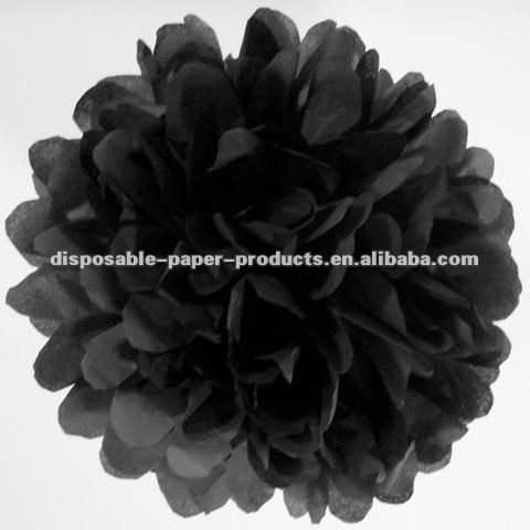 Black Tissue Paper Pom Pom Wedding Paper Balls flowers for wedding,baby shower, Birthday 32 Colors in 14 sizes