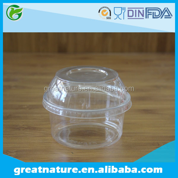 Round Clear 12oz Plastic Salad Bowl Transparent Plastic Bowl With Lid