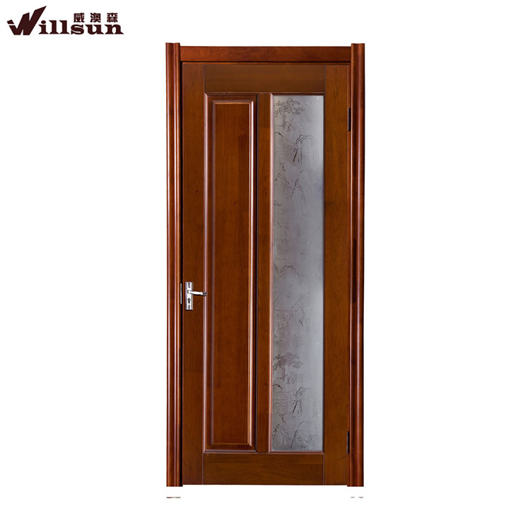 french style modern interior wooden frosted glass door for