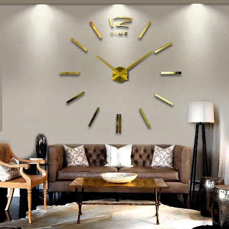 Silver Color Large Mirror 3d Wall Clock Luxury Home Decor Wall Clocks