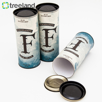Round Tube Paper Wine Gift Box Rum Whisky Beer Wine Packaging Tube with Metal Lid