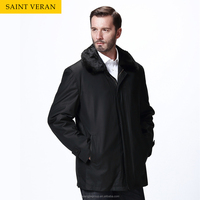 High-end particular 2015 custom design new mens fur neck wind coat black wind coat for man
