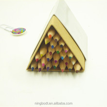 Funny nature color wood pencils with wood color pencil case packed