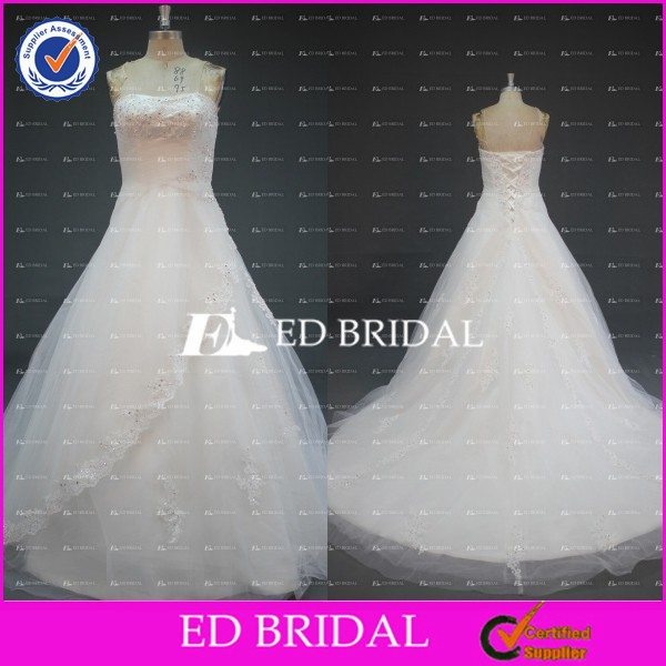 ED Bridal Real Sample Strapless Ball Gown Beaded Appliqued Tulel Cheap Wedding Dresses