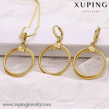 61663-xuping fashion jewelry 14k gold simple cheap indian circle jewelry sets