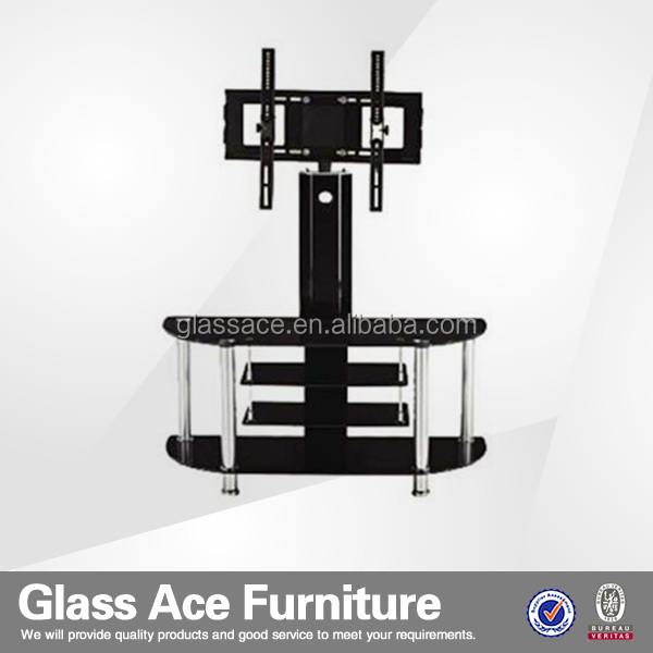 high gloss furniture glass wall unit TV cabinet metal frame