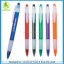 Promotional plastic hotel pen imprint logo with rubber grip