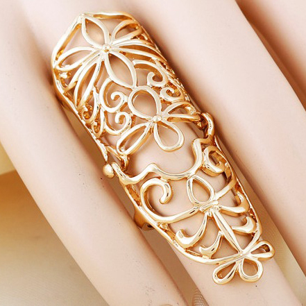 Bohomia Style Fashion Charm Pierced Gold Silver Plated Full Finger Armor Joint Knuckle Hollow Out Ring for Women