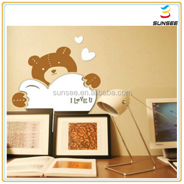 100% new material factory low price customized Acrylic decorative mirror with bear shape design for kids