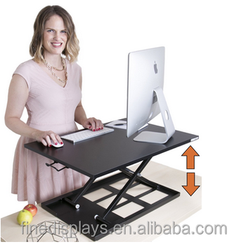 X-ELITE PRO Height Adjustable Sit / Stand Desk - Converts your Existing Desk into a Standing Desk! (Black)(AH-B-0216)