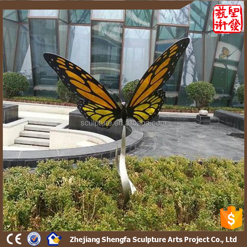 Modern Large Metal Arts Abstract Butterfly Sculptures For Garden Decoration Stainless Steel304 for sale