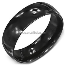8mm Curved Plain Black Stainless Steel Band Ring For Men
