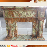 Natural Stone Indoor Used Marble Carved Fireplace Mantel with Column