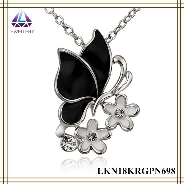 Alibaba Fashion Jewelry White Gold Charm Chain Black Butterfly Wings Pendant Necklace Jewelry