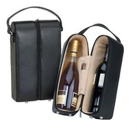 IN STOCK - New Arrival Top Grade black pu leather wine carrier