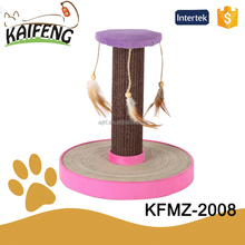 New arrival simple cat scratching tube, animal at home climbing sisal rope, funny cheap kitten scratch tree with feathers