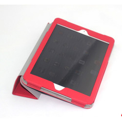 Factory OEM&ODM Foldable Red PU leather Full Protective Tablet Cover For Ipad Mini Case
