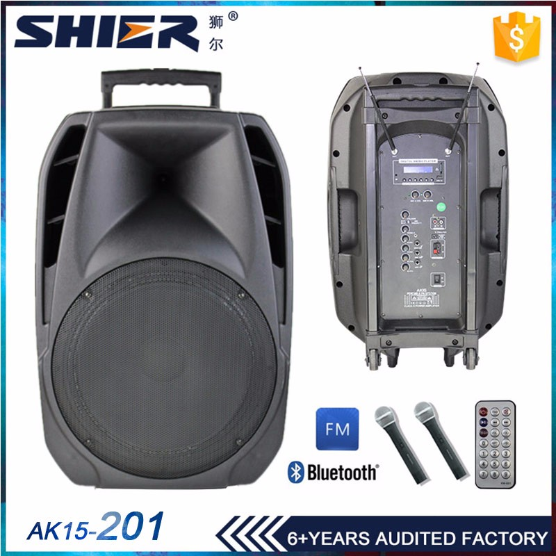 Outdoor trolley active rechargeable multimedia speaker system 80w