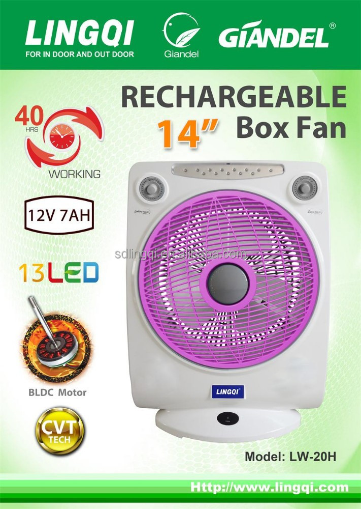 14 inches 12V battery operated rechargeable fan WITH light CB/SASO 12V 7AH battery