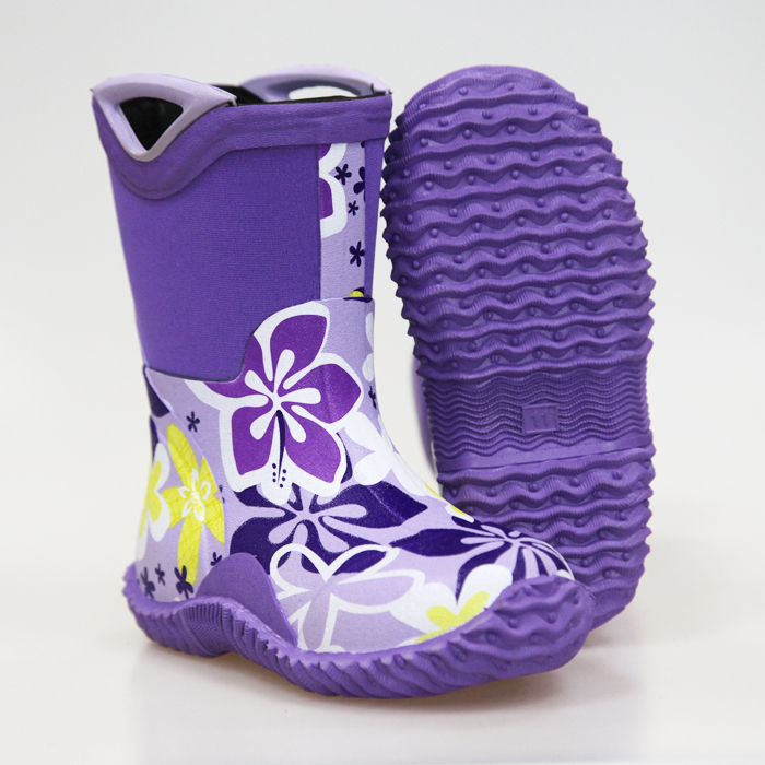 Girls Rubber Handle New Printing Neoprene Boots