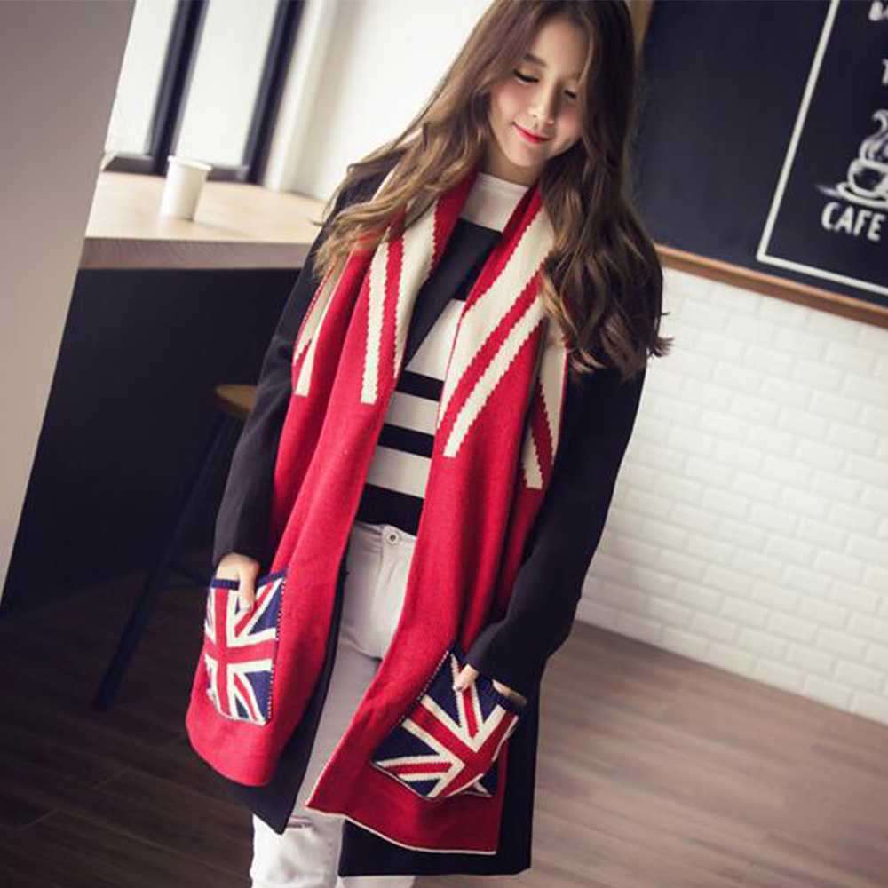 2017 Britannique motif poche foulards chaud de mode tricoté foulards fabricants en Chine
