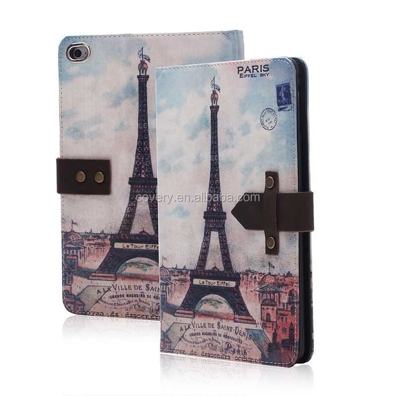 For ipad tablet case, High quality PU leather The Eiffel Tower proctor case for ipad