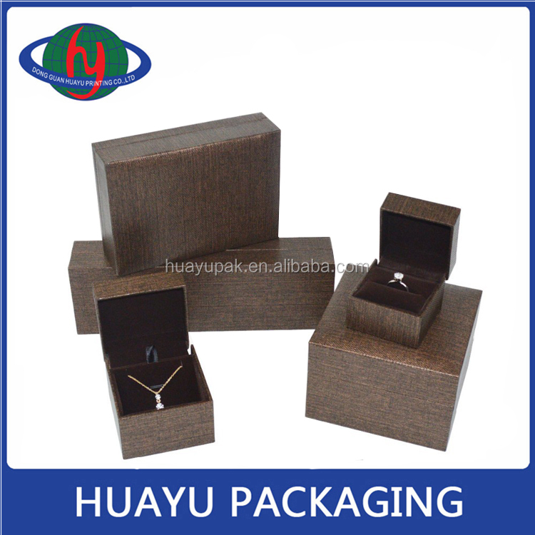 New style foldable brown plastic jewelry box for necklace bracelet ring watch