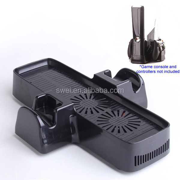 Multi-functional Dual Cooling Fan + Console Stand+Controller Storage For Xbox360 Slim