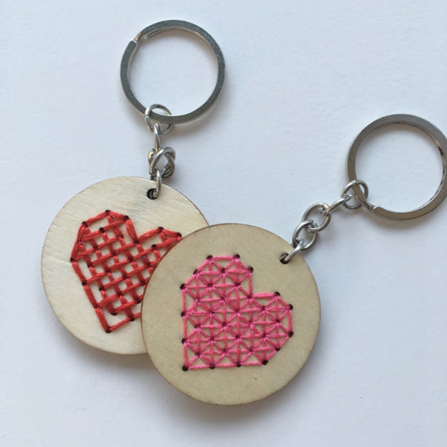 DIY wooden heart cross stitch key chains