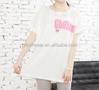 fashion ladies short sleeve t shirt with lace back & foaming print