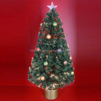 Green Leaf Fiber Optic Christmas Trees with Colour Balls