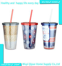 Plastic Double Wall Acrylic Tumbler With Paper Insert
