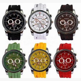 Wholesale high quality various colors geneva rhinestone fashion silicone jelly candy watches men watch