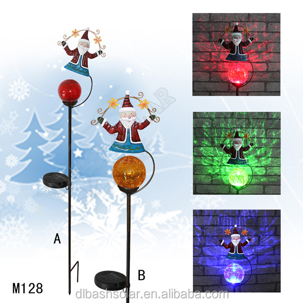 cute colorful solar plastic LED Christmas ball reindeer