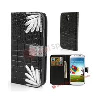Black Diamond Chrysanthemum Croco Wallet Leather Cover for Samsung Galaxy S4 i9500