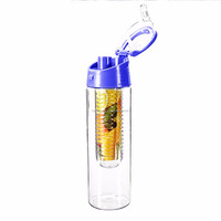 BPA free FDA pass acrylic infuser fruit water Bottle With Portable handle