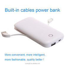 2016 New products 6000mAh for iPhone 6S battery charger built in cable power bank