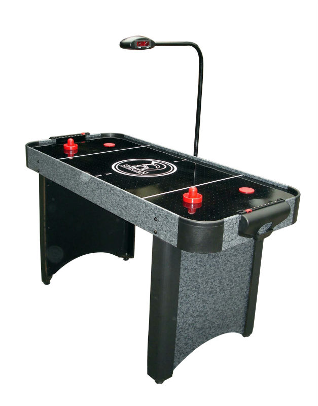 Electronic scoring ice air hockey table with black mdf top,puck,cake,assemble book