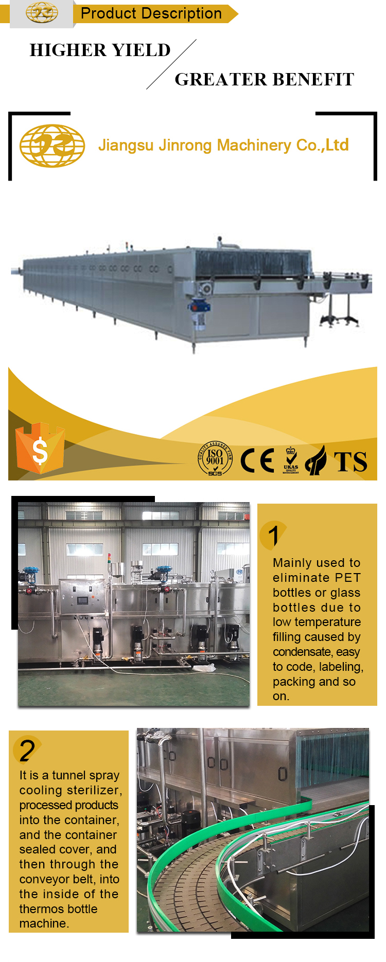 Automatic bottle warmer and cooler tunnel with shower spray 3 in 1 pasteurization machine