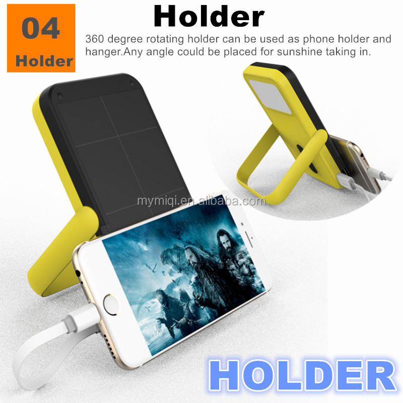 MIQ solar power bank waterproof solar charge 10000mah with holder