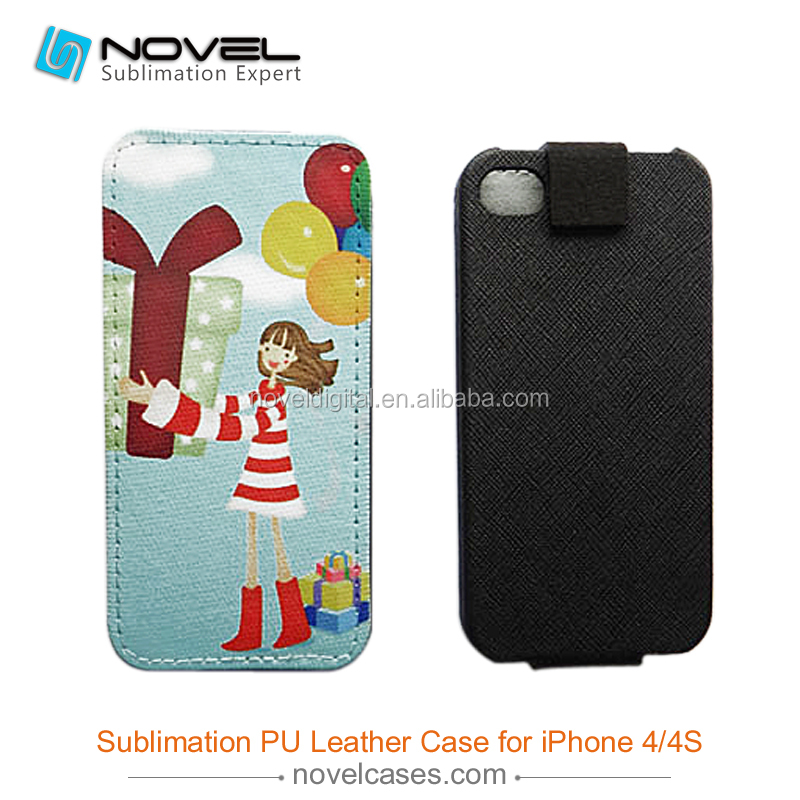 Best Selling Sublimation flip leather case cover for iphone 4