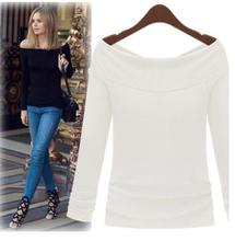 Autumn new style boat neck popular ladies shirts