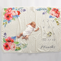 hot sale baby monthly milestone fleece blanket photograph baby blanket mink photo blanket